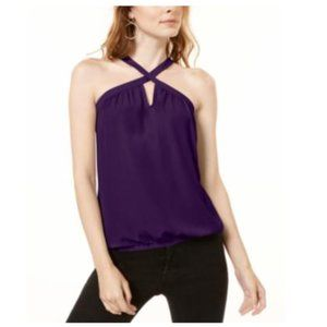 NWT Inc Woven Keyhole Halter Top NEW M